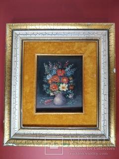"""Картина """"Цветочный натюрморт"""" в бархате-2."""