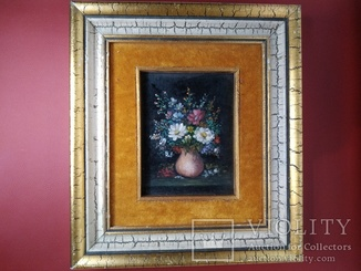 """Картина """"Цветочный натюрморт"""" в бархате."""