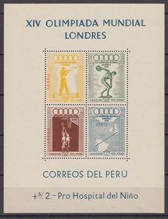 Перу 1948 Mi bl 1 Олимпийские Игры Лондон спорт MNH **