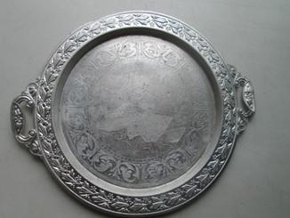 Поднос СССР алюминевый с гравировкой.