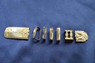 Серебренный поясной набор в позолоте.