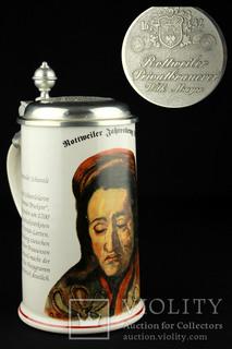 Коллекционная пивная кружка. Пивоварня Вильгельма Майера. Ротвайль. Германия. (0267)