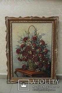 """Натюрморт """"Цветы"""" Дерево, масло, холст. 58х77 см"""