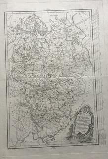 Старинная карта. 1770 год. Бумага Верже. Картограф Филлип де Претот (48х33см.).