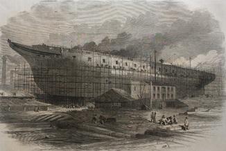 Старинная гравюра. 1860 год. Cтроительство фрегата на заводе Темзы (41х29см.).