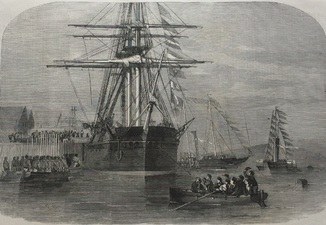 Старинная гравюра. 1856 год. Визит ее величества на Resolute (41х29см.).