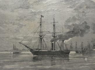 Старинная гравюра. 1858 год. Корабль с членами палаты общин. (41х29см.).
