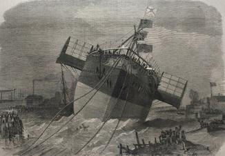 Старинная гравюра. 1858 год. Спуск на воду теплохода «Параматта» в Блэкволле (41х29см.).