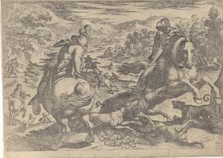 Старинная гравюра. 1609 год. Антонио Темпеста. Охота на кабана. (28,5х20,5см.).