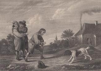 Старинная гравюра. 19 век. Девид Тернер. Внимание. (31х23см.).