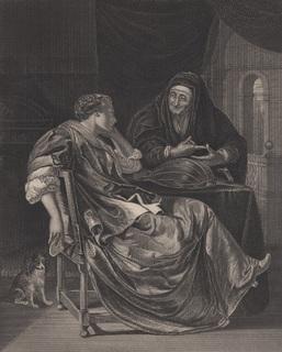 Старинная гравюра. 1812 год. Пейн. Гадалка. (31х23см.).