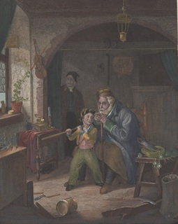 Старинная цветная гравюра. 1850 год. Краус Альфред. Инвалид. (26,7х20,3см.).