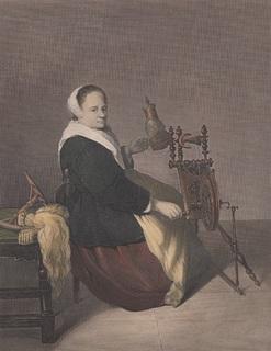 Старинная цветная гравюра. 1844 год. Пейн. Прялка. (23,5х20,2см.).