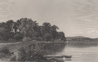 Старинная гравюра. 1870 год. Уста Мудны на Гудзоне. Девид Джонсон. (32х24см.).