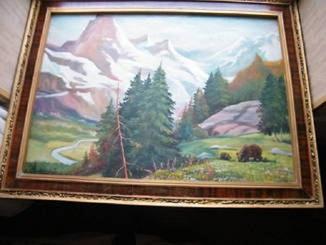 Большой пейзаж (прим. 95х65) с красивой рамой