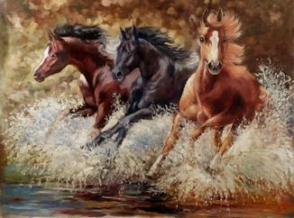 """""""Лошади"""" (80х60) П. Густов"""