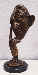Бронзовая скульптура - Думающий человек, подпись A.Barye