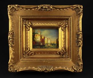 Венеция. Городской пейзаж. Масло. Подпись. Шикарная рама. 220х200 мм. Европа.