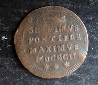 Монета 1/2 байоччи Ватикан Медь 1802 г.
