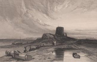 Старинная гравюра. 1836 год. Башня Мартелло. Побережье Стэнфилда. Кук. (22,5х15,5см.).