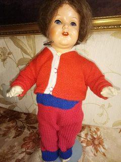 Антикварная немецкая кукла . Флиртовка. Настоящие волосы