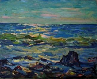 """Глущенко Н,П, """"Морской пейзаж"""" 1974г."""