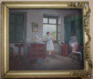 "Картина на фанере ""Утренний час"" Германия 1865 год"