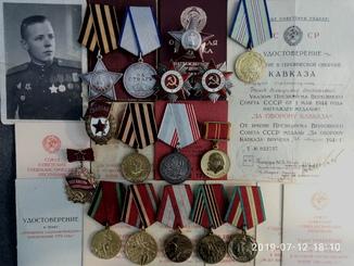 Комплект наград на Нилов В.М, подписанный Г.С.С. Генерал-Майором Колдубов.