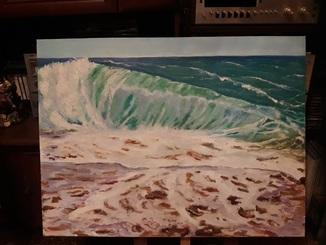 Море волна картина маслом на холсте 60х80