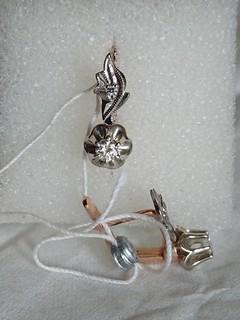 Золотые сережки с бриллиантами (1991 г.в).