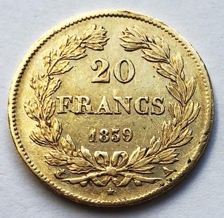 20 франков 1839 года.