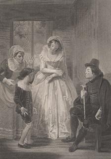 """Старинная гравюра. Шекспир. """"Виндзорские проказницы"""", акт IV. 1803 год. (43 на 33 см.)."""