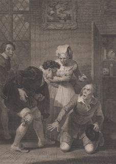 """Старинная гравюра. Шекспир. """"Виндзорские проказницы"""", акт I. 1803 год. (43 на 33 см.)."""
