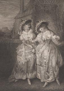 """Старинная гравюра. Шекспир. """"Виндзорские проказницы"""", акт II. 1803 год. (43 на 33 см.)."""