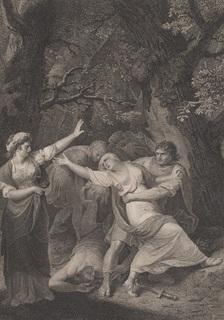 "Старинная гравюра. Шекспир. ""Тит Андроник"", акт II. 1803 год. (43 на 33 см.)."