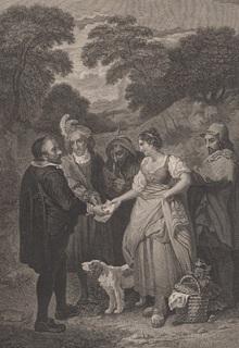 """Старинная гравюра. Шекспир. """"Бесплодные усилия любви"""", акт IV. 1803 год. (43 на 33 см.)."""