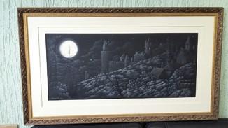 И.Калинин. Сказка полной луны. Картон, тушь, белила,48х85. 2015.