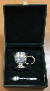 Серебряная кофейная чашка и ложечка Агат. 925 пробы + камни