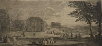 Старинная гравюра. Около 1770 годa. Вид на Дворец Сео. Дж. Тинни(47х34см.).