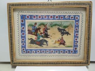 Восточная миниатюра, живопись на кости, сцена охоты