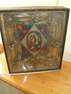 Неопалимая купина в киоте с символами Евангелистов  рубеж 19-20 ст.