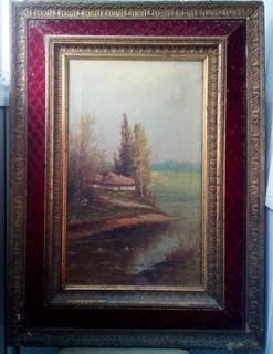 Старинная картина, пейзаж, Петров.