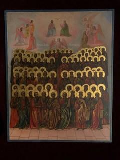 Икона всех афонских святых. Русско-афонский стиль.