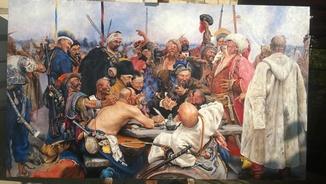 """Копія картини  І. Ю. Рєпіна   """"Запорожці""""  70х120см."""