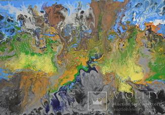 Картина Абстракция Фантазия. Водопад. Акрил. 30 х 50 см.
