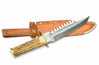 Большой охотничий нож, рукоять рог, клеймо Тускер
