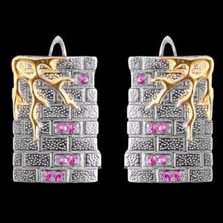 Серьги серебряные 925 натуральный розовый турмалин.