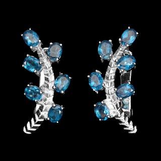 Серьги серебряные 925 натуральный ААА голубой апатит.