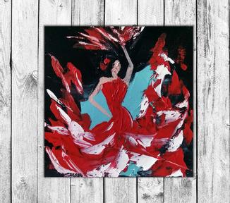 Танцовщица фламенко 2 (масло/холст на картоне) 20х20 см