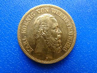 20 марок. 1873 год. Вюртенберг.